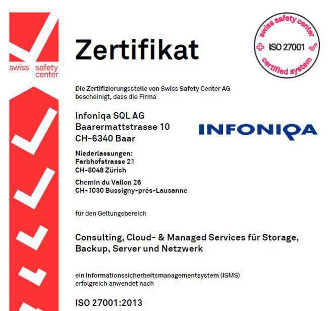 Infoniqa Zertifikat