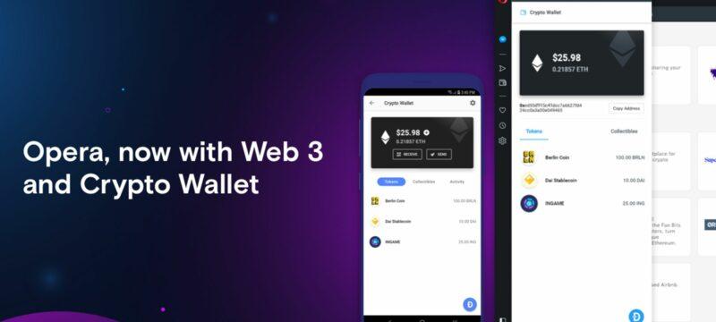 Opera 3 für den Desktop – jetzt mit Krypto Wallet