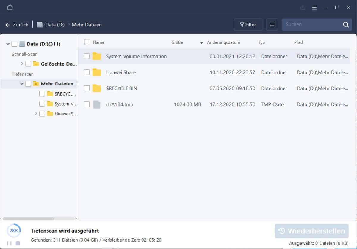 Dateien wieder finden